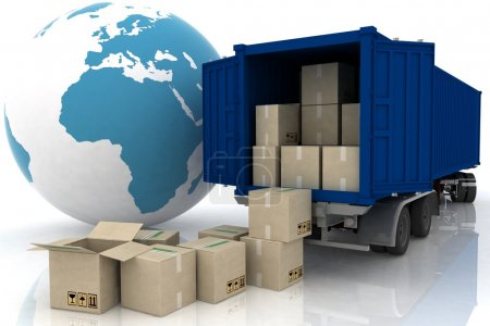 Photo for Container of truck with boxes on white - Royalty Free Image