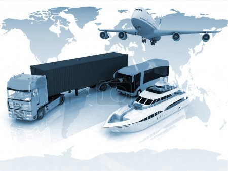 Photo for Types of transport on a background map of the world - Royalty Free Image