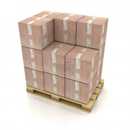 Photo for Cardboard boxes on wooden pallet - Royalty Free Image