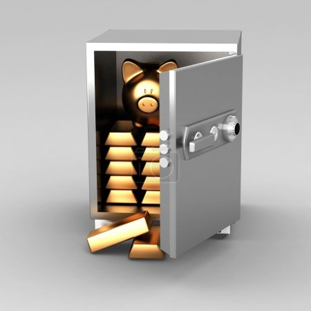 Bullions and piggy bank in a security safe...