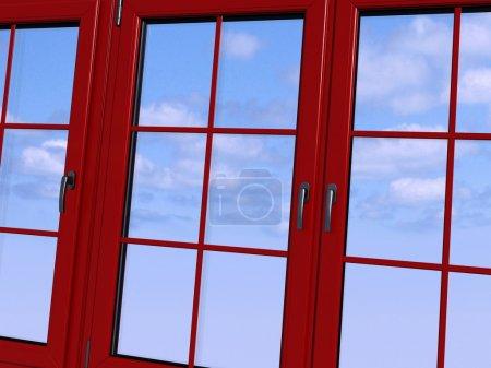 Photo pour Ciel vu à travers une fenêtre rouge - image libre de droit