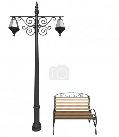 Street lantern and bench in retro style