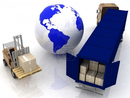 Photo for Globe and auto loader with boxes - Royalty Free Image