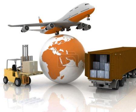 Foto de Avión de línea con un globo y un cargador automático con cajas - Imagen libre de derechos