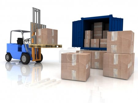 Loading of boxes is isolated in a container