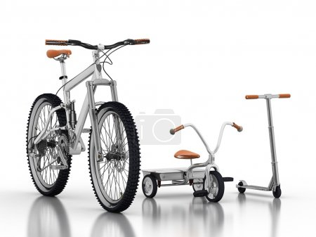 Racing bike with a children's bike and scooter