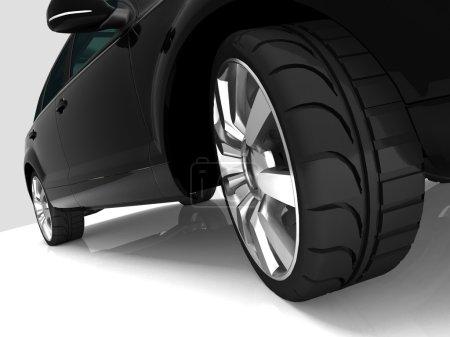 Photo pour Gros plan des roues de la machine sur fond blanc - image libre de droit