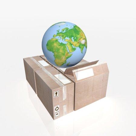 Globe on cartons