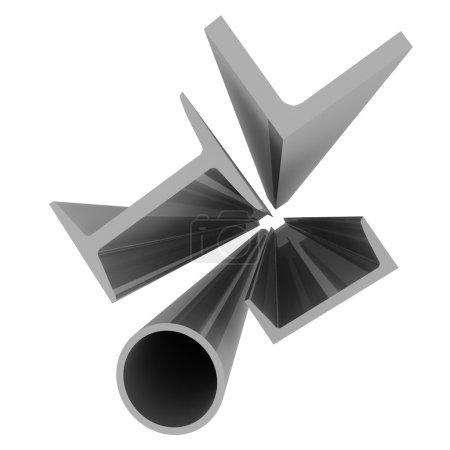 High technology background - aluminum profiles