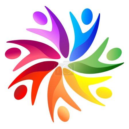 Illustration pour Travail d'équipe arc-en-ciel logo vecteur stock - image libre de droit