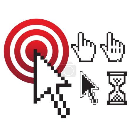 Pixel styled vector mouse cursor set design...