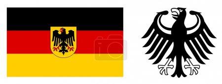 Photo pour Drapeau allemand et armoiries - image libre de droit