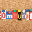 The word Community in cut out magazine letters pin...