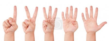 Photo for Child finger numbers. Human little countdown hand - Royalty Free Image