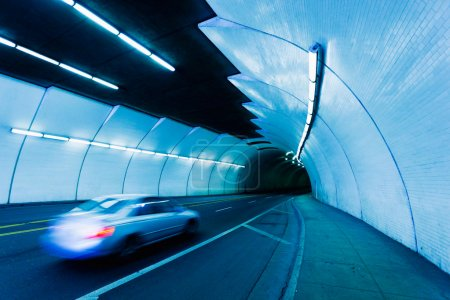 Photo for Urban Tunnel, Car moving with Motion Blur - Royalty Free Image