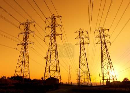 Photo for Electric Powerlines at Sunset - Royalty Free Image