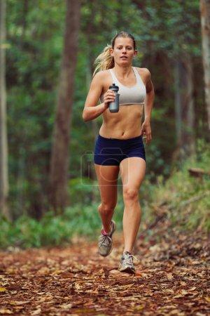 Photo pour Femme courant à l'extérieur dans la forêt - image libre de droit