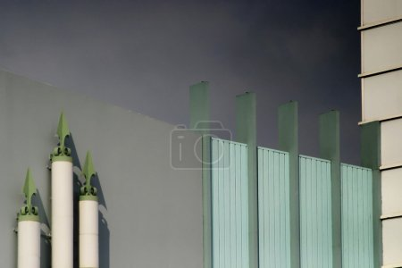 Photo for Photo of modern building with decorations and dark gray sky in the background - Royalty Free Image