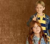 Children and black board