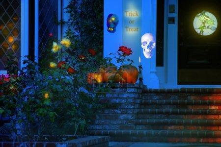 Night exterior of Halloween house