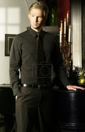 Photo for Elegant young man in tie in formal room with window light - Royalty Free Image