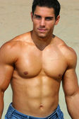 Shirtless bodybuilder