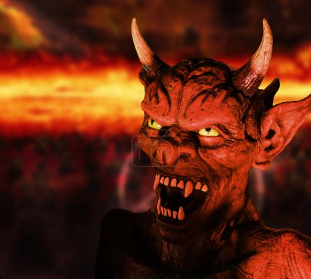 Photo for Scary portrait of a devil figure in hell background - Royalty Free Image