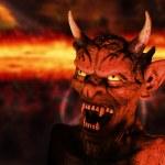 Scary portrait of a devil figure in hell backgroun...