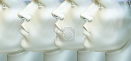 Photo for Photo detail of mannequin's male profile repeated - Royalty Free Image