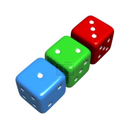 Photo pour Colorés 1-2-3 dés représentant chance, chance et risque. rendu 3d de haute qualité, isolé contre blanc. - image libre de droit
