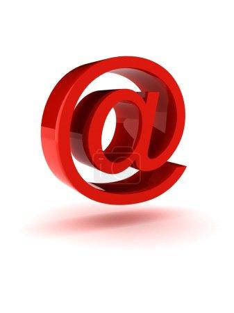 Photo pour Un signe de grande Courriel rouge brillant en vol stationnaire. isolé dans un environnement blanc. - image libre de droit