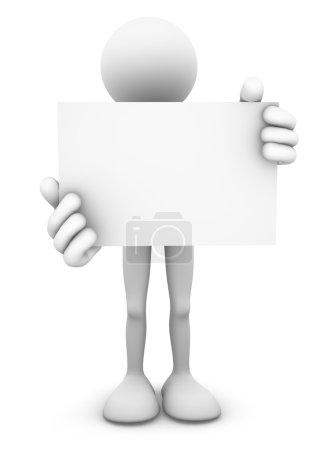 Photo pour Figure de bâton 3D personne debout et tenant une grande carte de visite vierge ou un panneau d'affichage . - image libre de droit