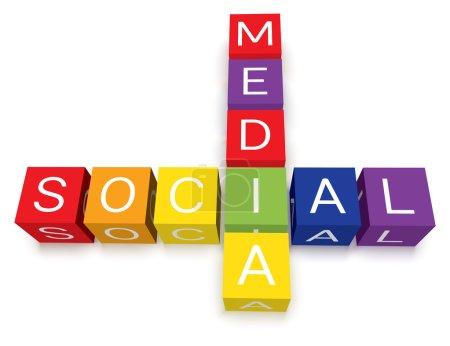Photo pour Blocs de mots croisés isolé médias sociaux colorés. ombres au sol transparent. EPS10. - image libre de droit