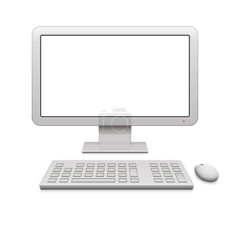 Photo pour Élégant écran de bureau ordinateur avec souris et clavier sans fil. - image libre de droit