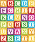 Colourful baby blocks with capital letters from A to Z the first vector illustration out of a set of three