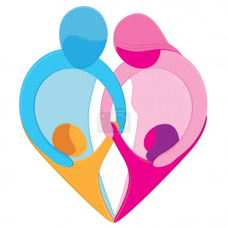 Photo pour Figures stylisées de mère, père, fils et fille tenir par la main pour former une forme de coeur. aucun des gradients. - image libre de droit