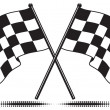 Two crossed checkered flags. Only black and white used (gradient free). Isolated and includes optional ground shadow.