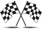 Two crossed checkered flags Only black and white used (gradient free) Isolated and includes optional ground shadow