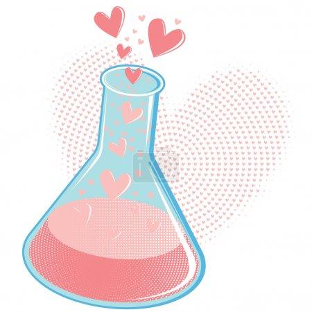 Photo pour Verre gobelet bulles avec tous les produits chimiques de l'amour, placé contre un cœur en forme de fond de demi-teintes. palette de couleurs limitée de seulement 5 couleurs. - image libre de droit