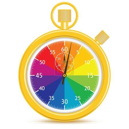 Photo pour Or chronographe analogique avec un visage de roue de couleur. mains ont juste commencé à compter. gradient illustration gratuite. - image libre de droit