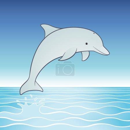 Photo pour Dauphin ludique bondit hors une mer tropicale dans un ciel bleu clair. - image libre de droit