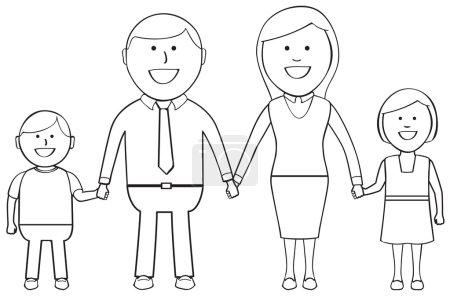 Photo pour Dessin animé famille debout ensemble holding mains et souriant. illustration décrite adapté aux pages à colorier pour enfants. - image libre de droit