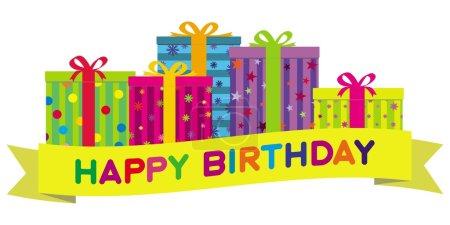 Photo pour Rangée de boîtes-cadeaux coloré orné de rubans et boucles derrière une bannière qui souhaitent « joyeux anniversaire ». gradient illustration gratuite. - image libre de droit