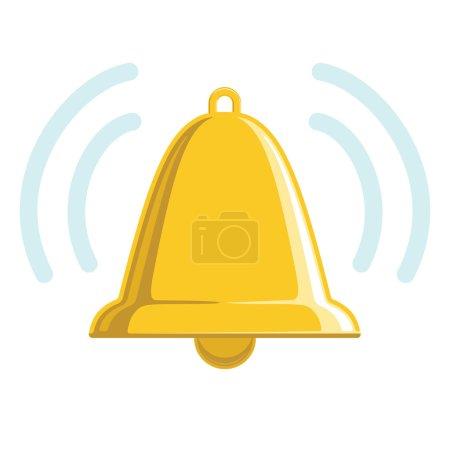 Photo pour Cloche d'or carillon avec en option des ondes sonores. isolé sur blanc. - image libre de droit