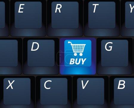 Photo pour Magasinage sur Internet acheter un clavier noir - illustration de notion de commerce électronique - image libre de droit