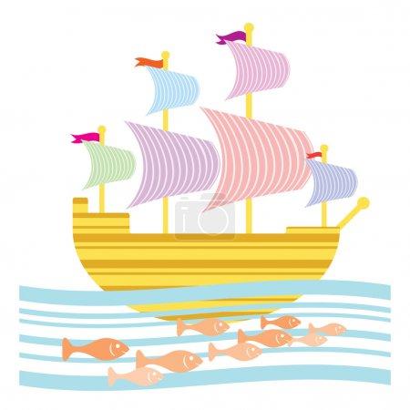 Photo pour Fantastique voilier sur un voyage. accompagné d'une école de poisson. - image libre de droit