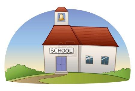 Photo pour Un chemin sinueux ouvre la voie à l'école, sur une colline, parmi des buissons. - image libre de droit