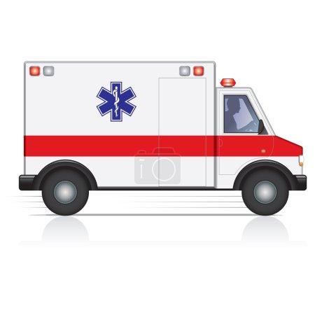 Photo pour Vue latérale d'une ambulance en mouvement avec une silhouette masculine pilote. - image libre de droit