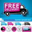 Lorry/van and delivery icons set with cut out coupon illustration, banner and glossy button