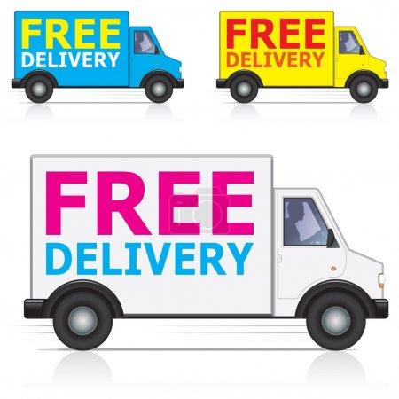 Photo pour Livraison gratuite les icônes de camion/van avec silhouette du conducteur. trois différentes couleurs - blancs, bleus et jaunes. - image libre de droit
